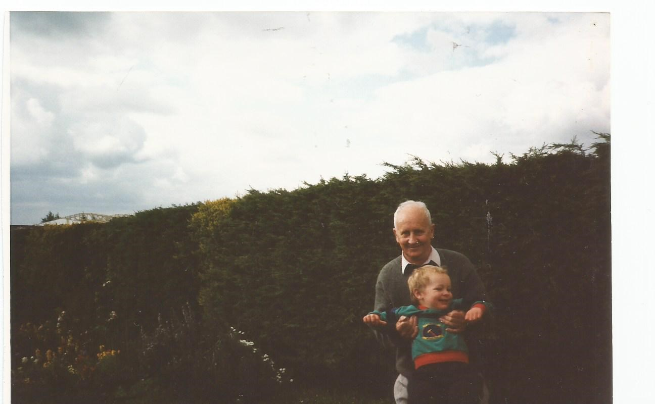 Alex with Grandad John in the garden at Old Fosse