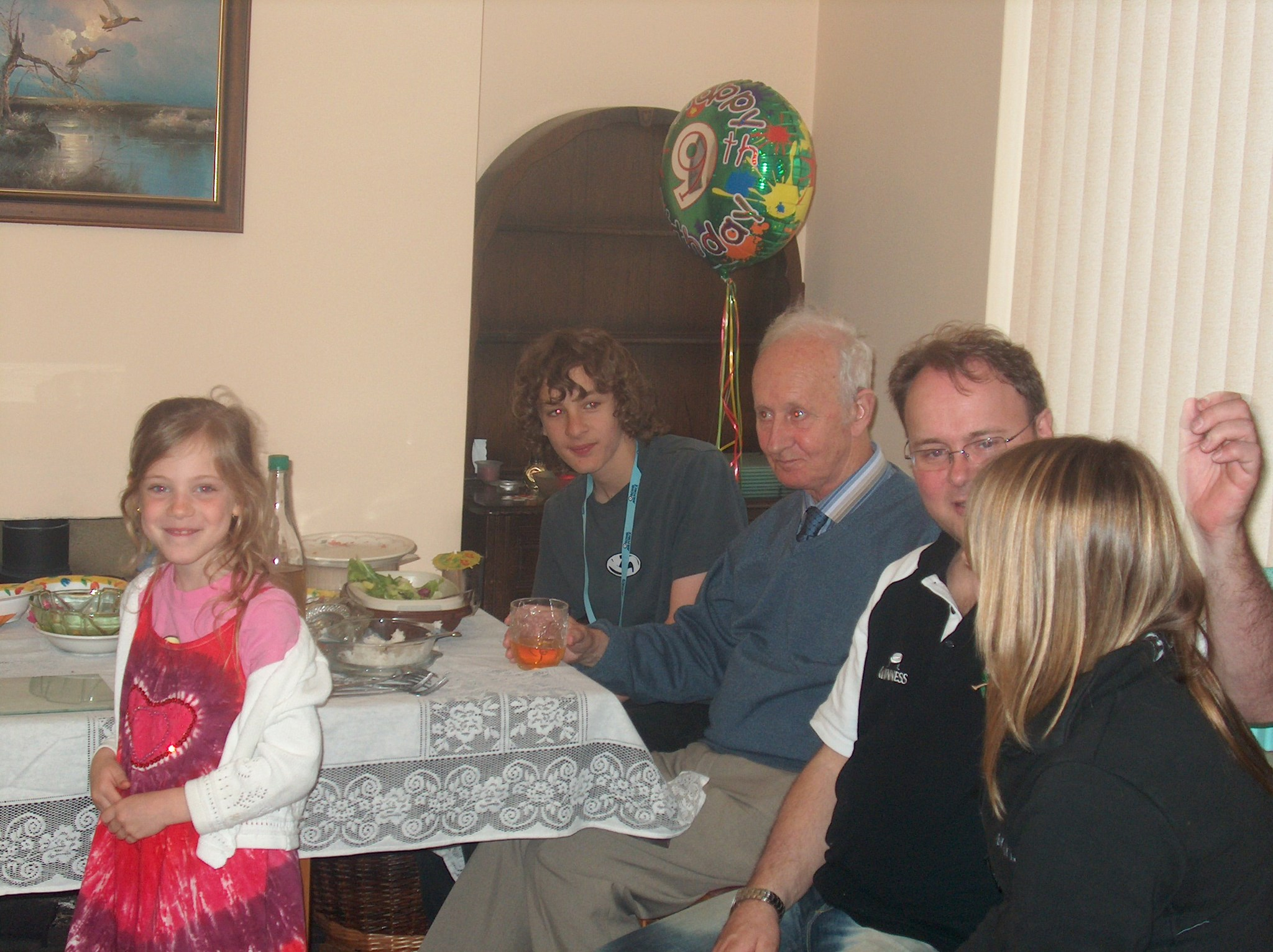 Someone's birthday, from left to right, Iona, Alex, John, Kevin and Lauren