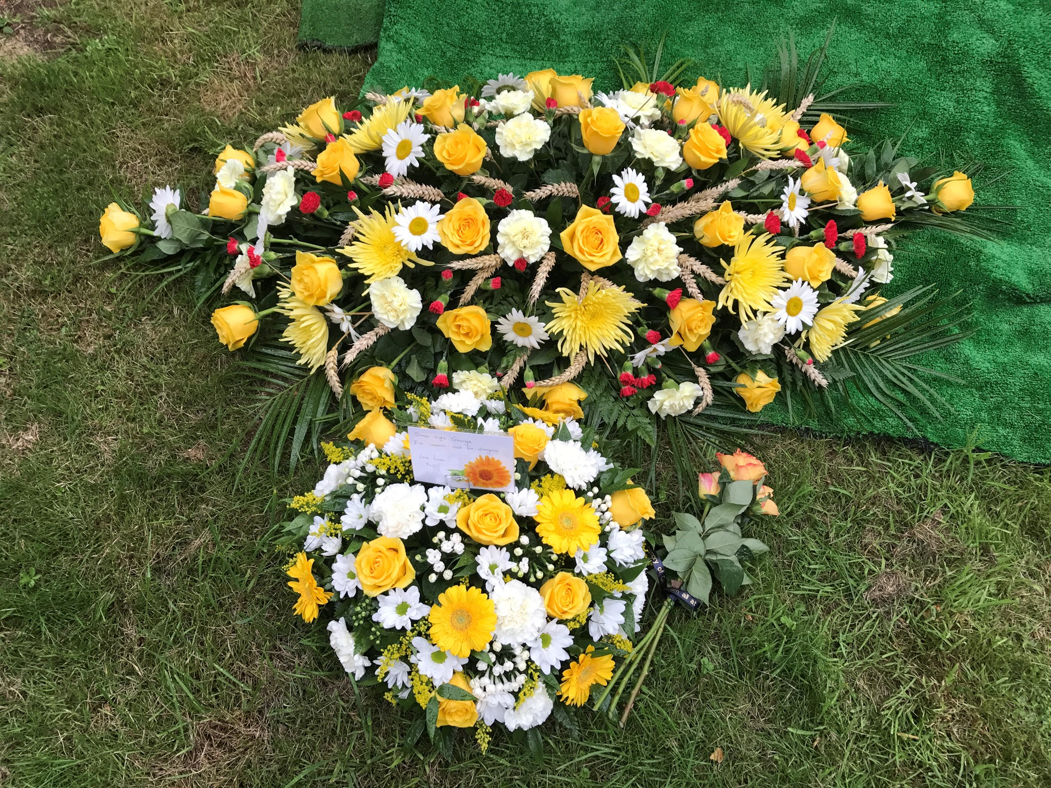 Floral tributes for George Fearnley