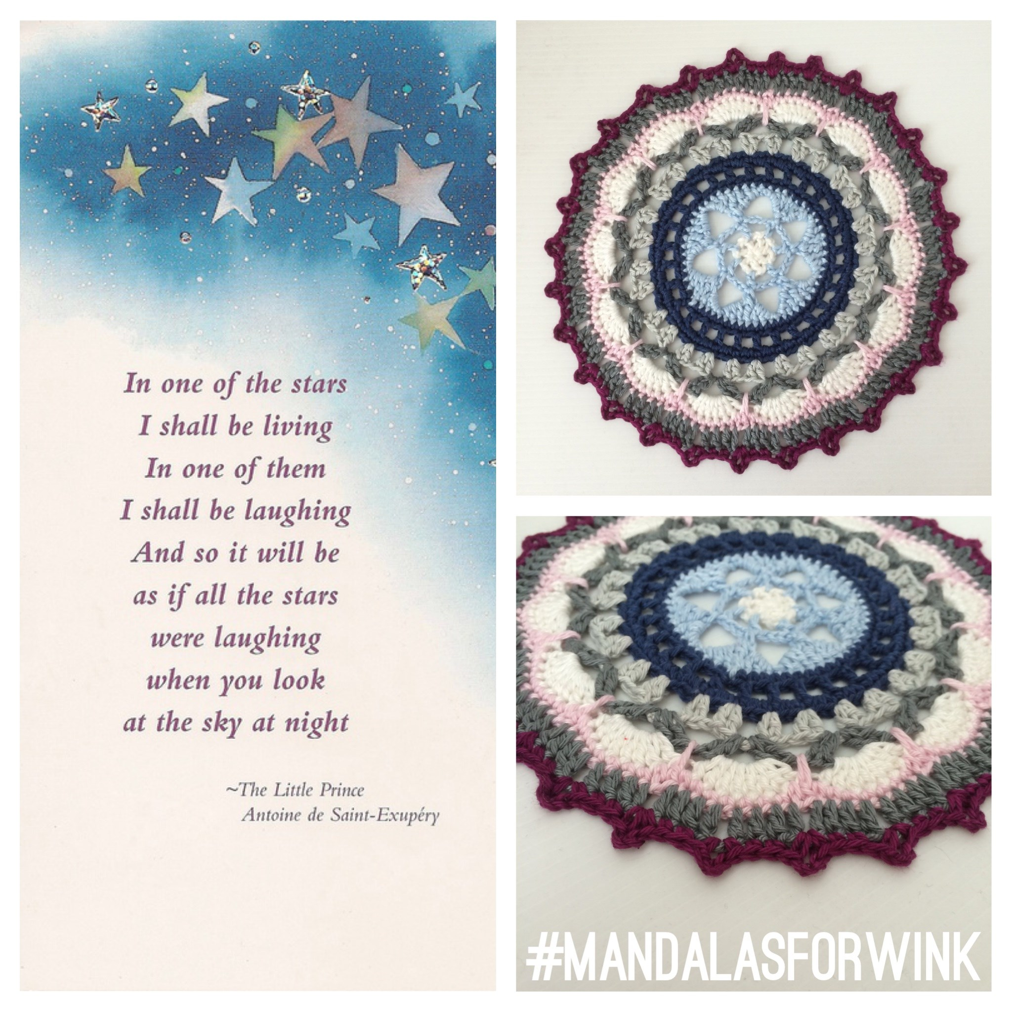 A crocheted star that t-WINK-les forever in the middle of one of her mandalas. RIP Marinke