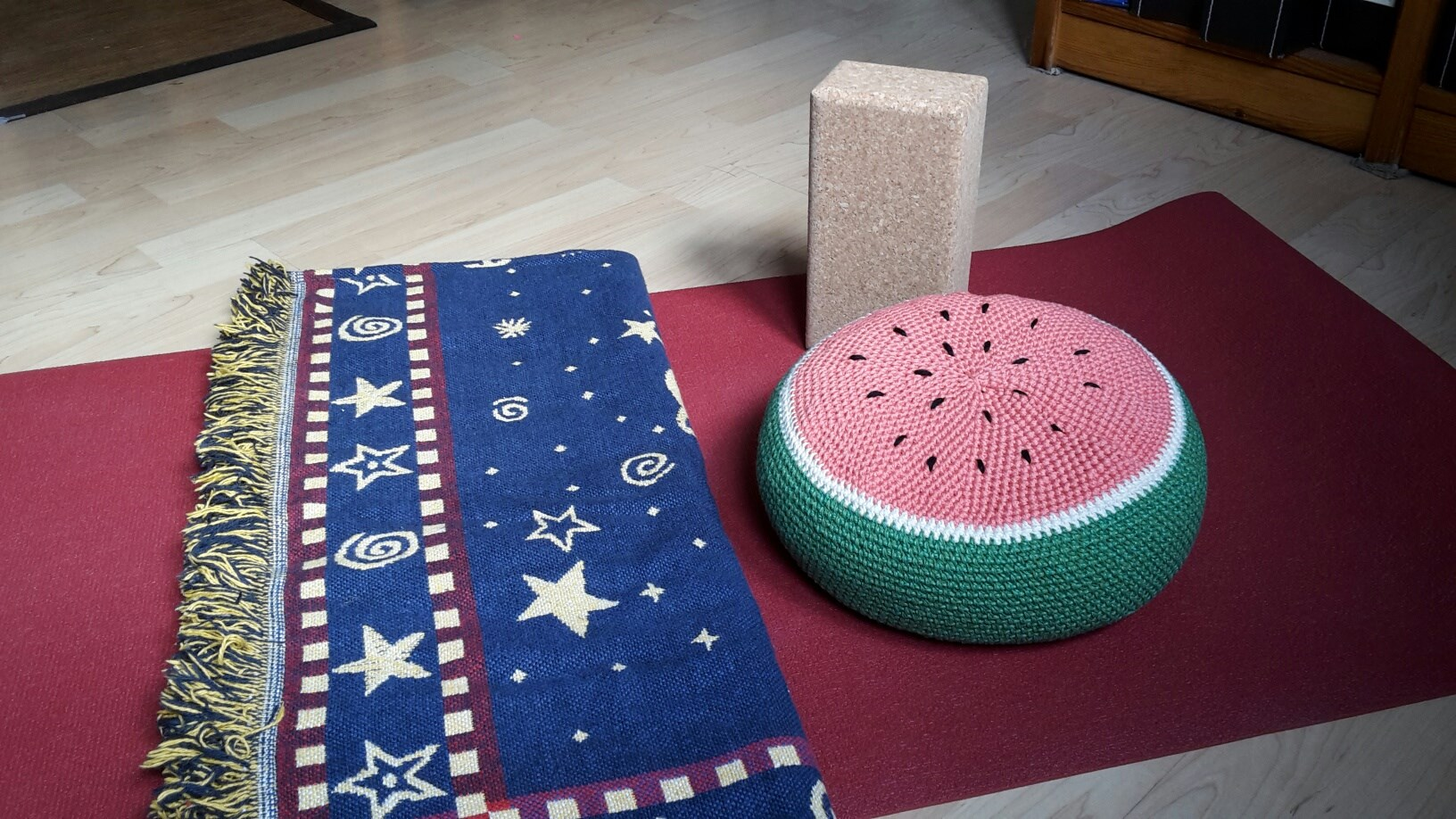 Inspired by your tutti frutti potholder - it came to be a meditation cushion.
