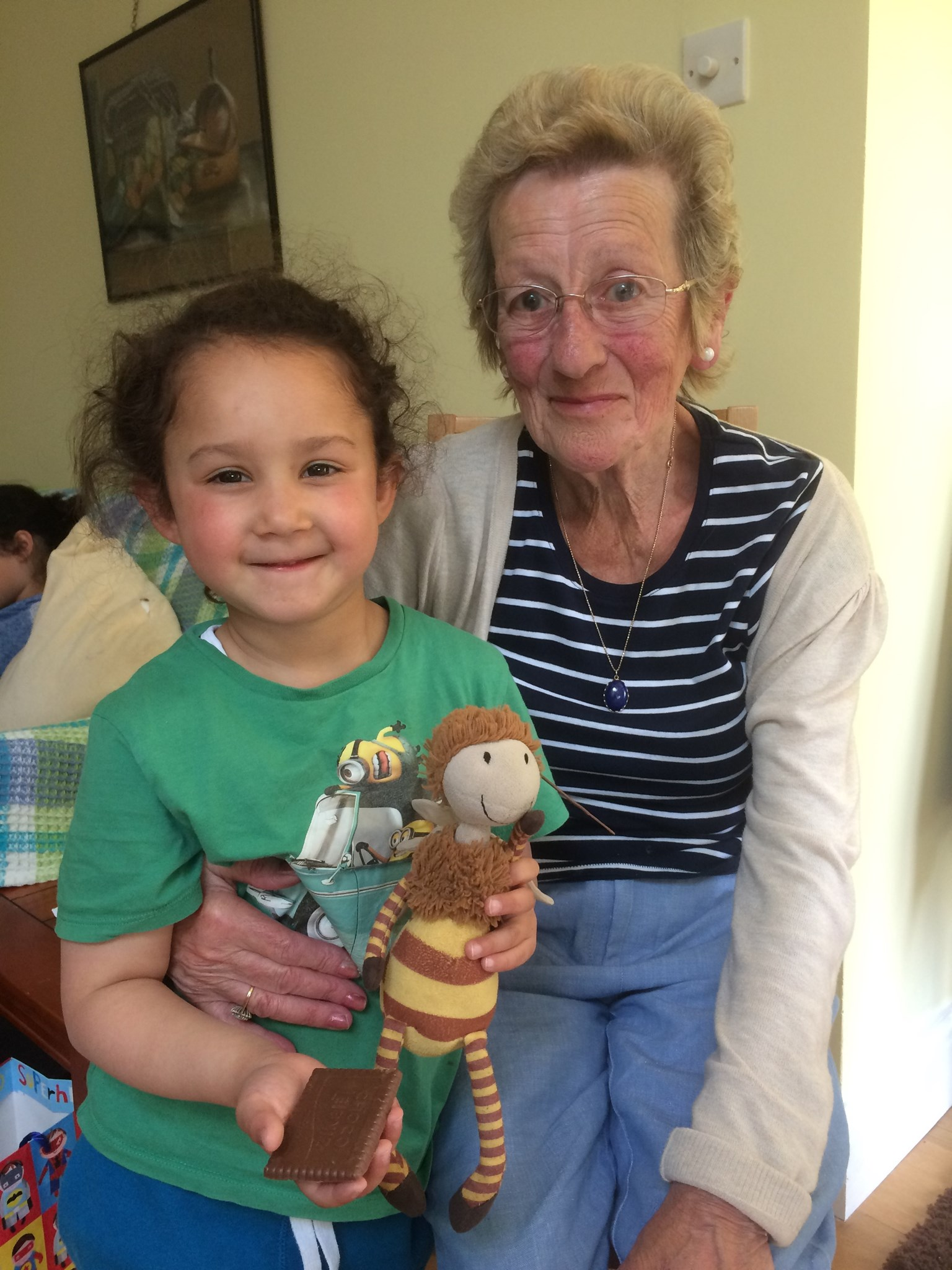 Nanny, Leela and Buzzy the bee ?? (oh, and of course a chocolate biscuit!!)