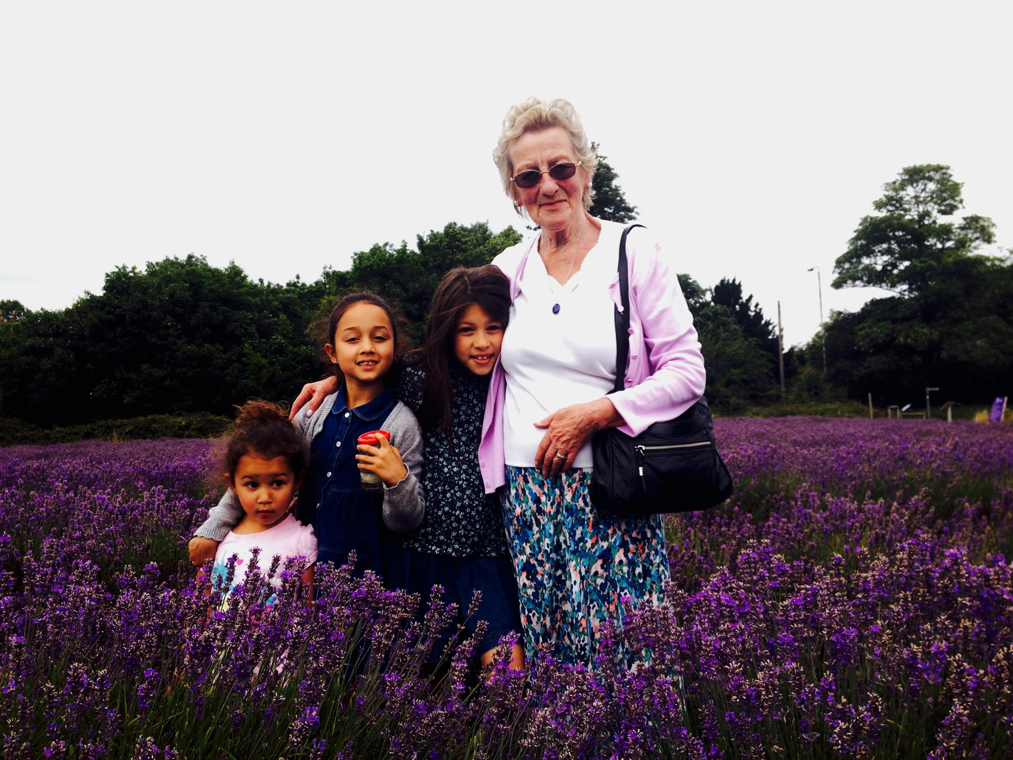 Rita bug hunting in the lavender fields with her girls - Aug 2015