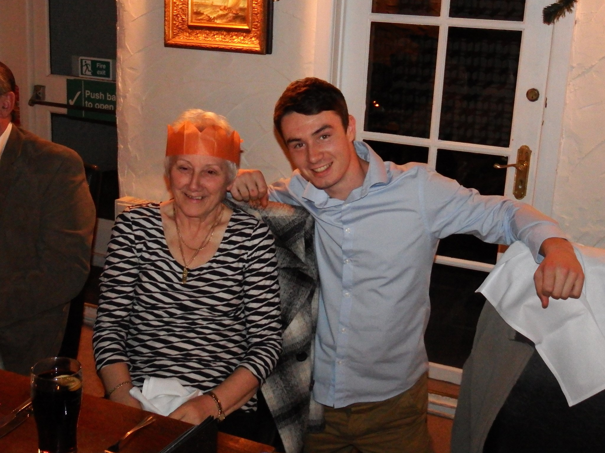 Tom with his Nan on her 70th birthday, December 2014.