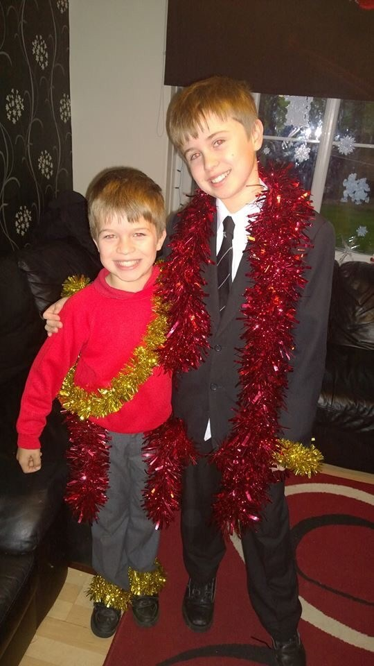 James and Dylan as they go off to school for Tinsel Day! in memory of their mum!!