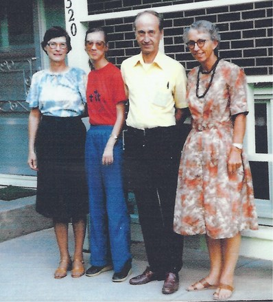 Dorothy with former coworkers, Dorothy & Garland Bare, with daughter Eileen - 1983