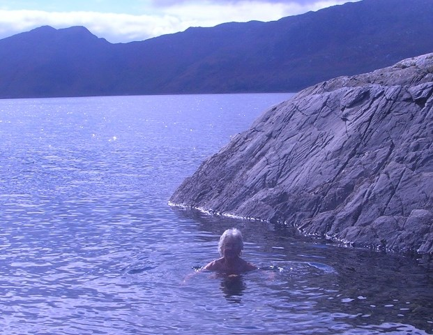 Jane skinny dipping at Knoydart