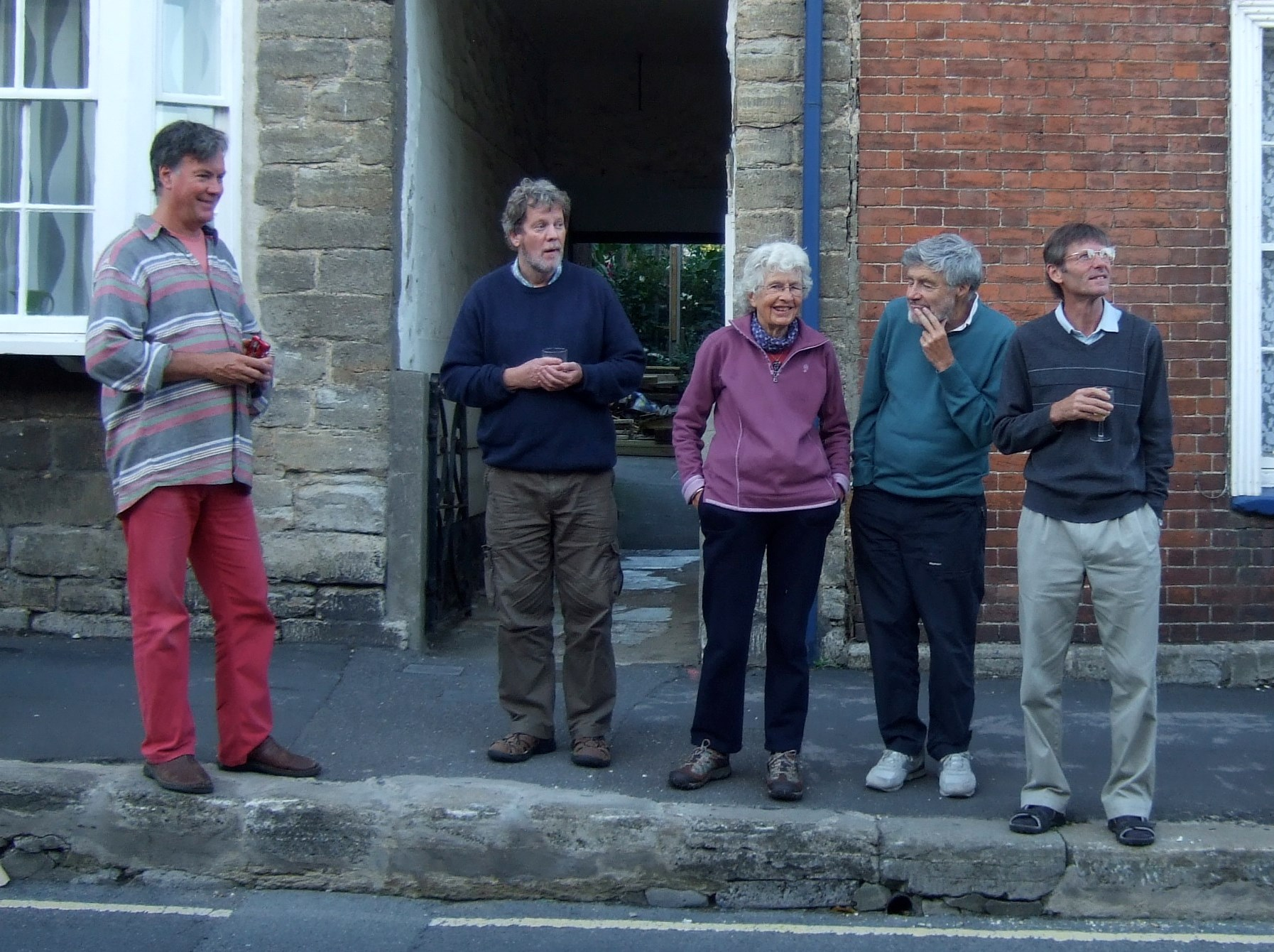 Jane with friends outside her Bridport home