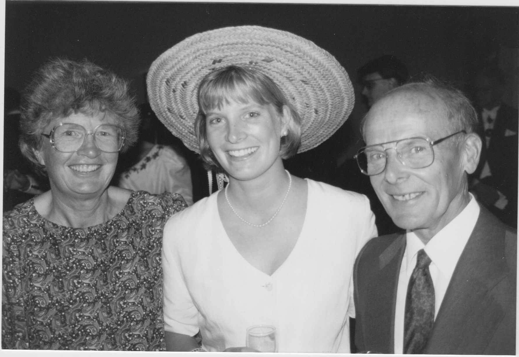 Jane, Ruthie, and Peter, Sept 3rd 1994 at my wedding (Great hat Ruthie!)