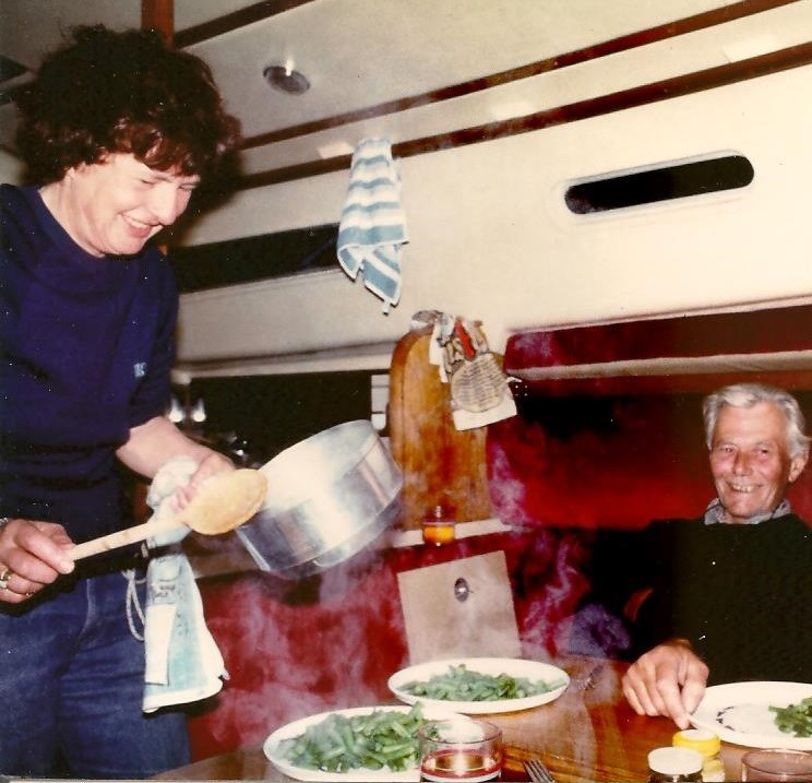 Jane cooking on Micks's boat - 1992