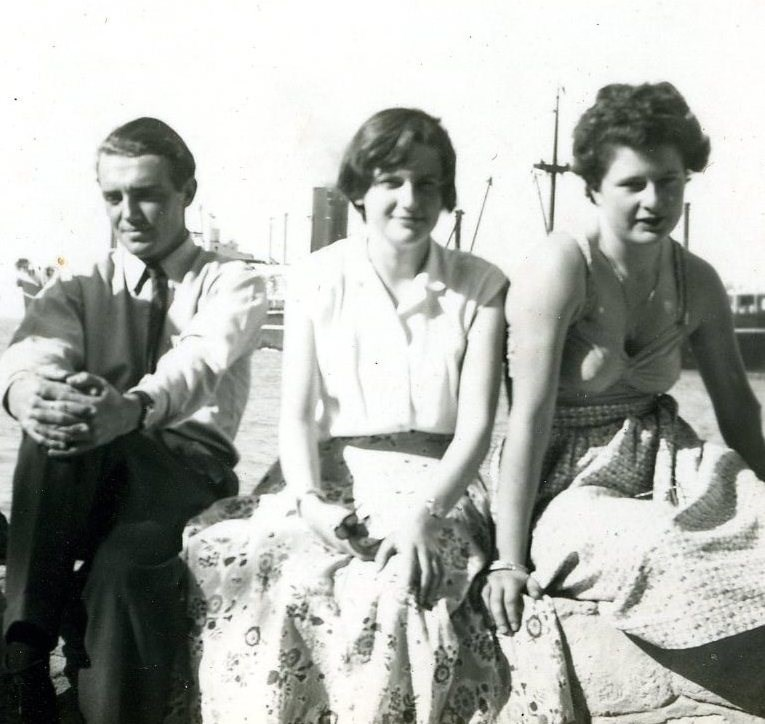 1954 Xmas Jim,Sally,Jane @ Kabrit, Suez Canal