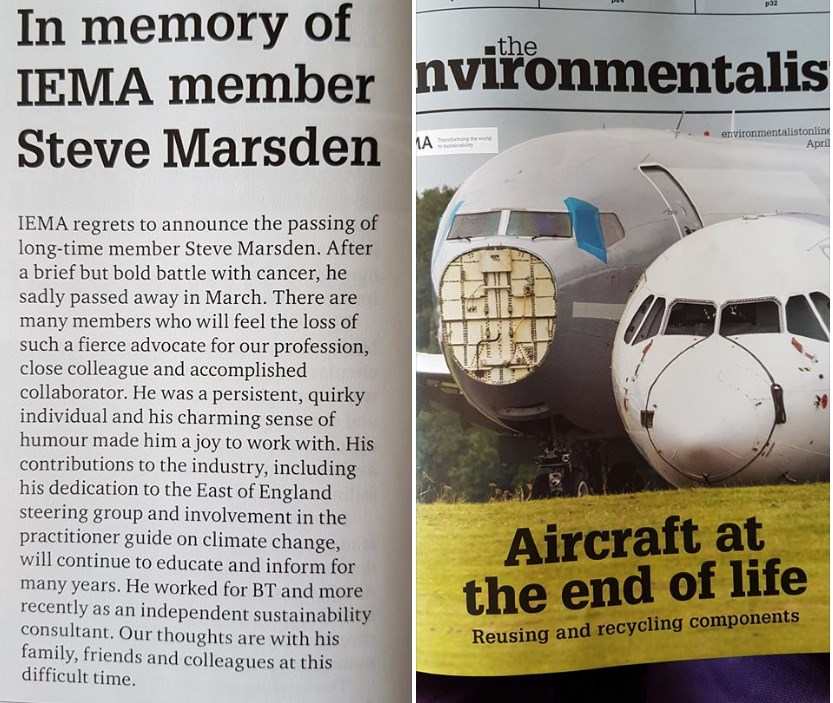 April 2017 Edition of the Environmentalist In Memory of Steve Marsden
