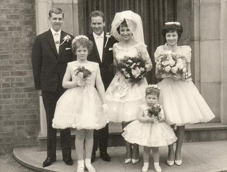 The happy couple, and some daringly high hemlines