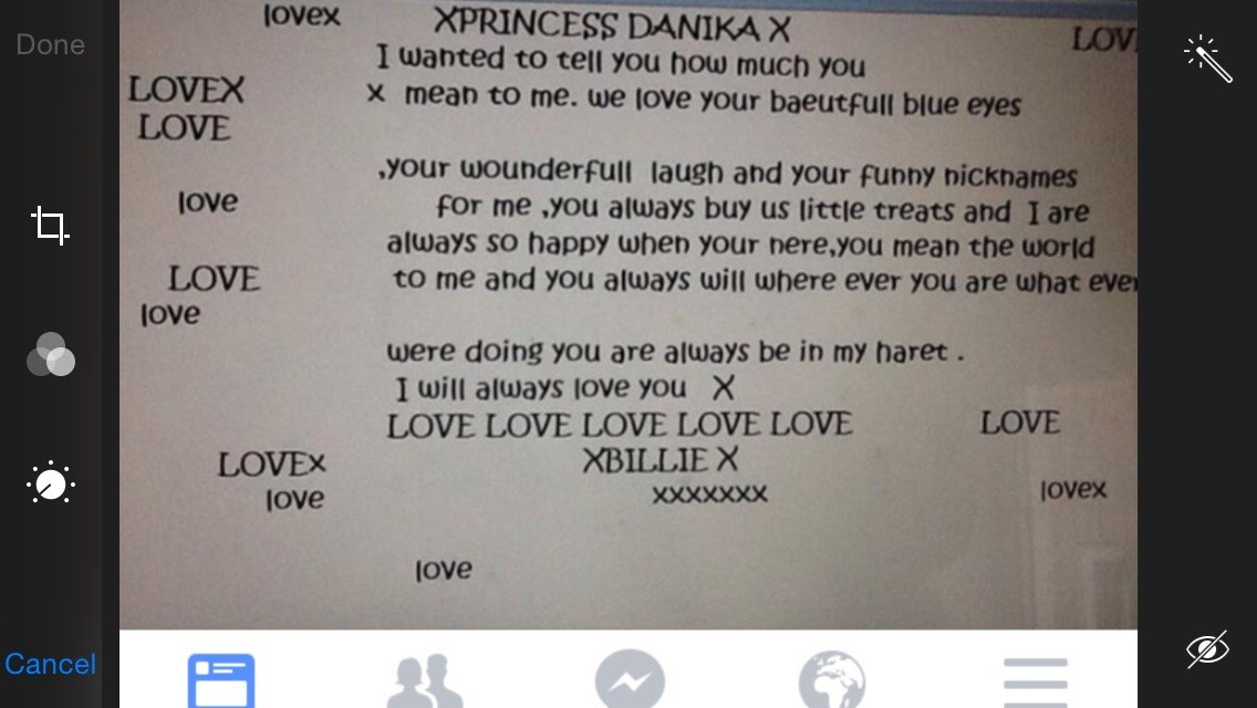 Wrote by Billie to her Love Heart Danika ??????