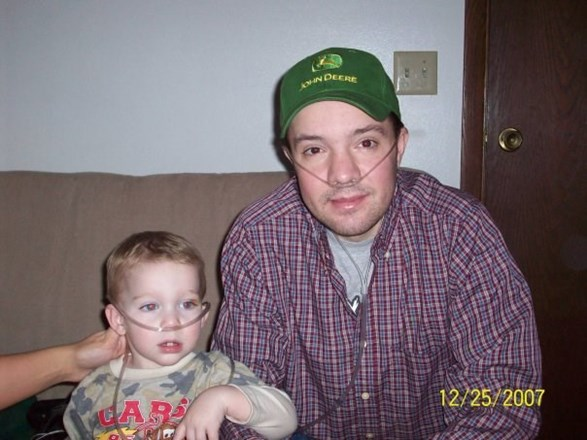My son with his Uncle Eric sharing oxygen..