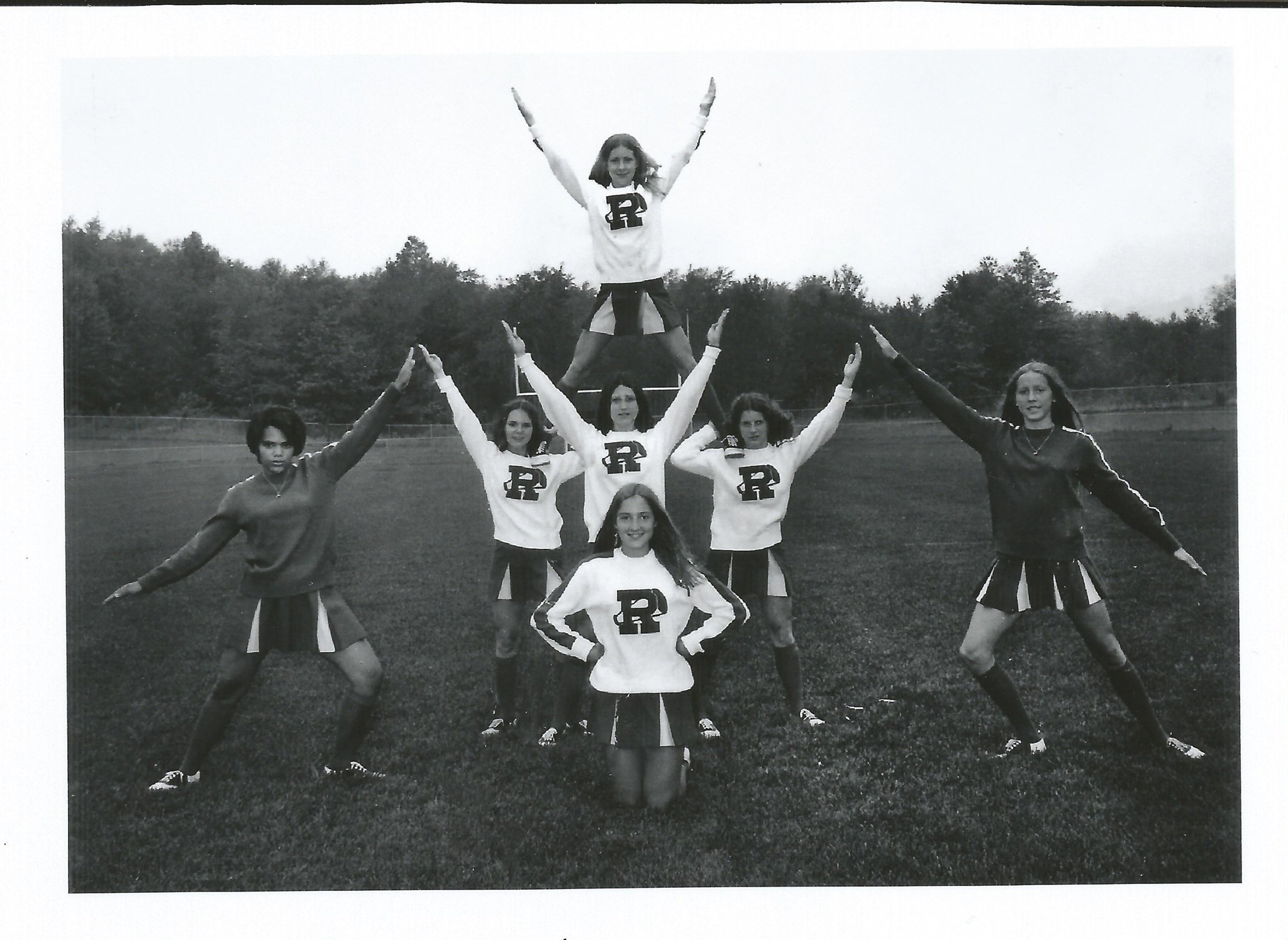 Fall of 1972, Susan (front) as a Theodore Roosevelt High Cheerleader, Kent , Ohio