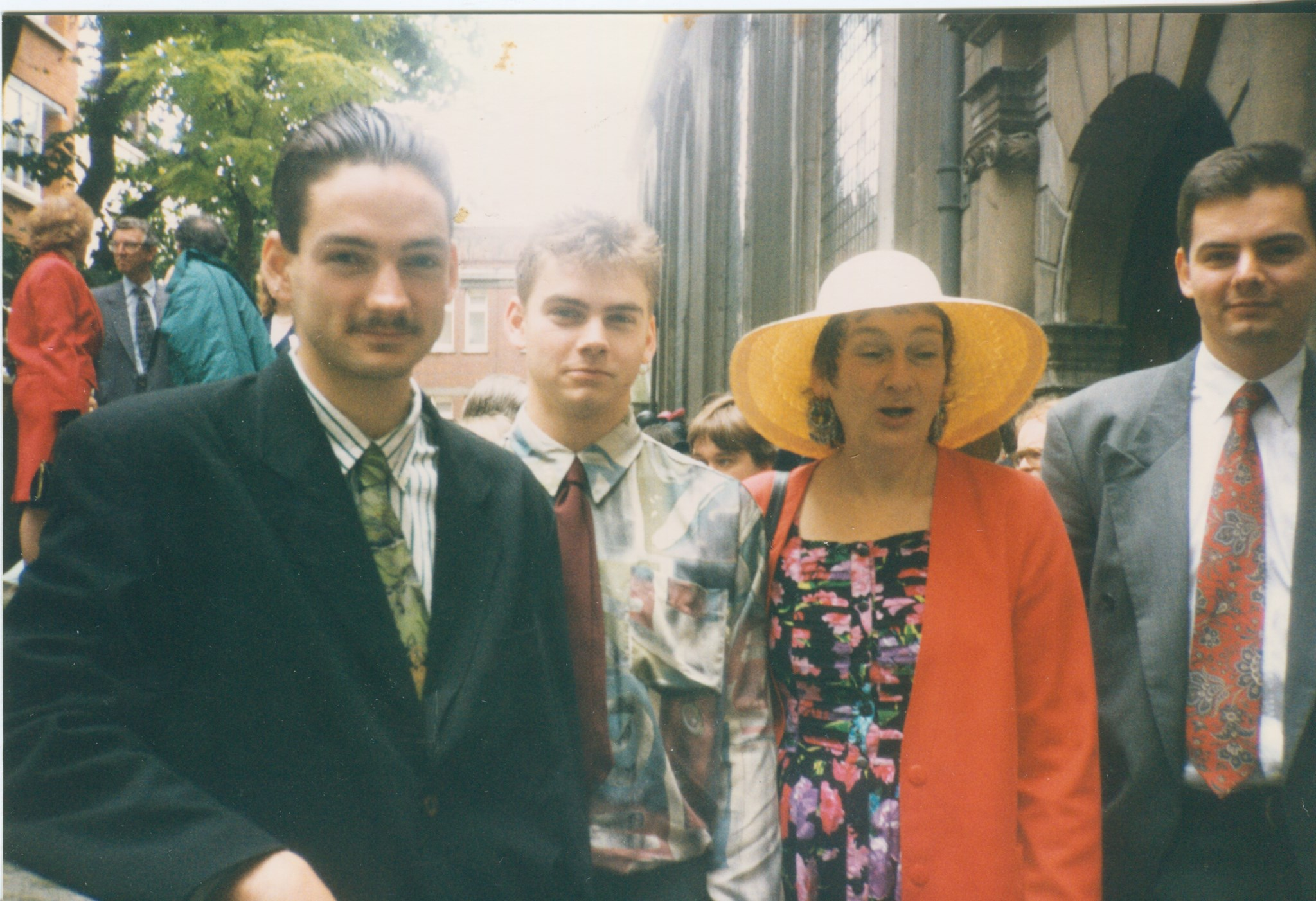 Barbara and sons [Meurig, Iestyn and John (left to right)] at nephew Ralph and Fiona's wedding