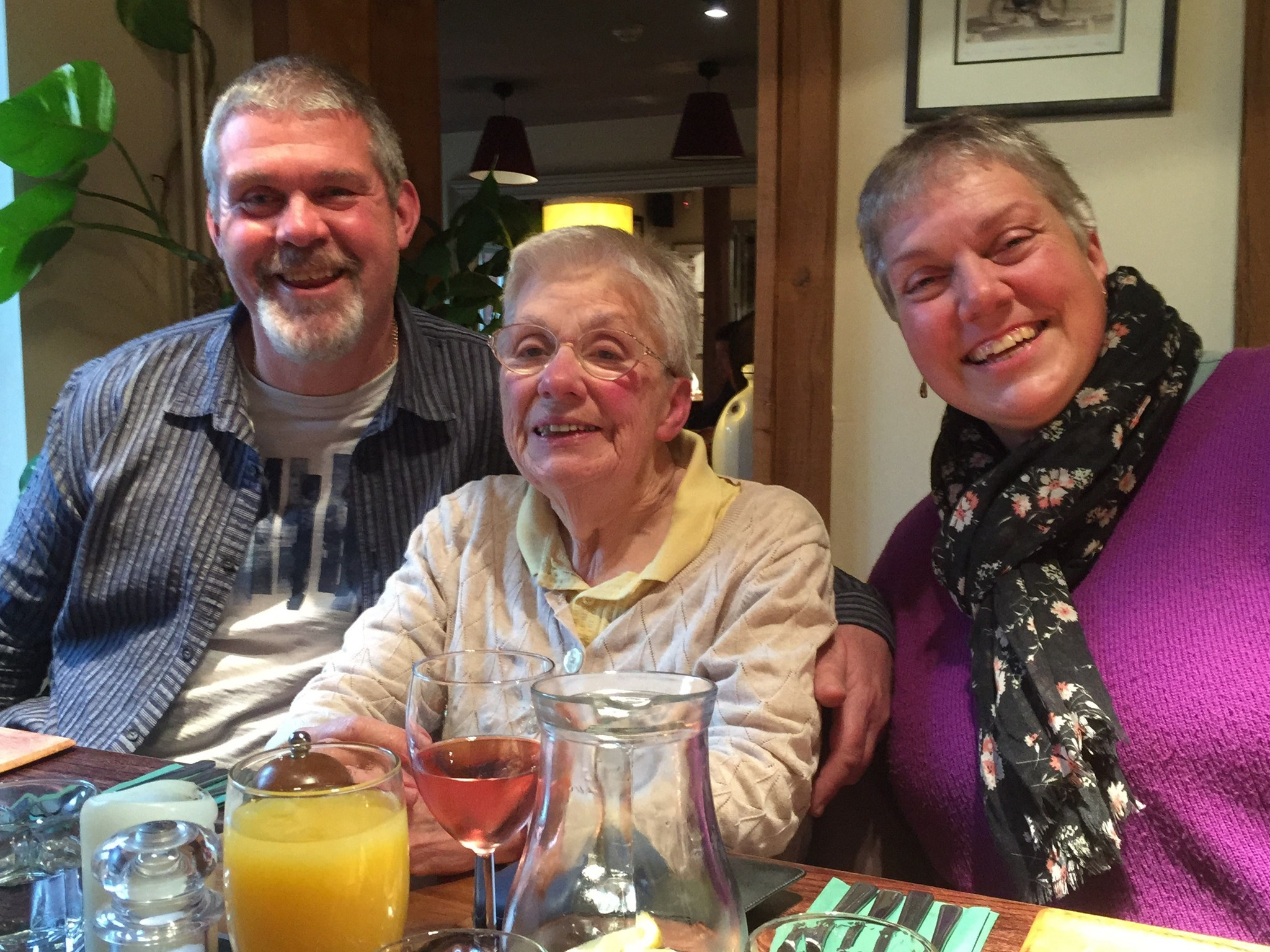 with Steve and Angie, 80th Birthday lunch - November 2014 at the Cricketers, Sarratt