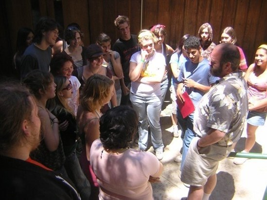 Campers captivated by a visit from Mark- Camp Bravo 2008