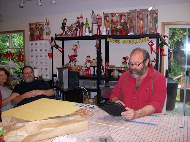 """Markle reading a story to us in our elf studio """"Dweezer the Star Elf"""""""