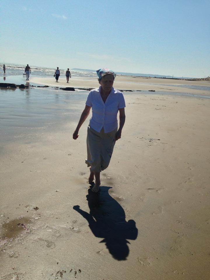 Mum loved the sea - she was so carefree this day, dancing in the sand - July 2013