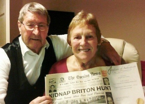 60th Wedding Anniversary with Paper from day of our Wedding 15th Dec 1956 presented by Susan (2)