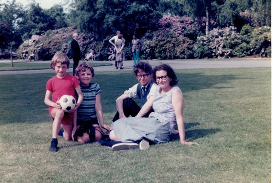 Neil, Michael, David and Rosemary in Dulwich park in the 1970s