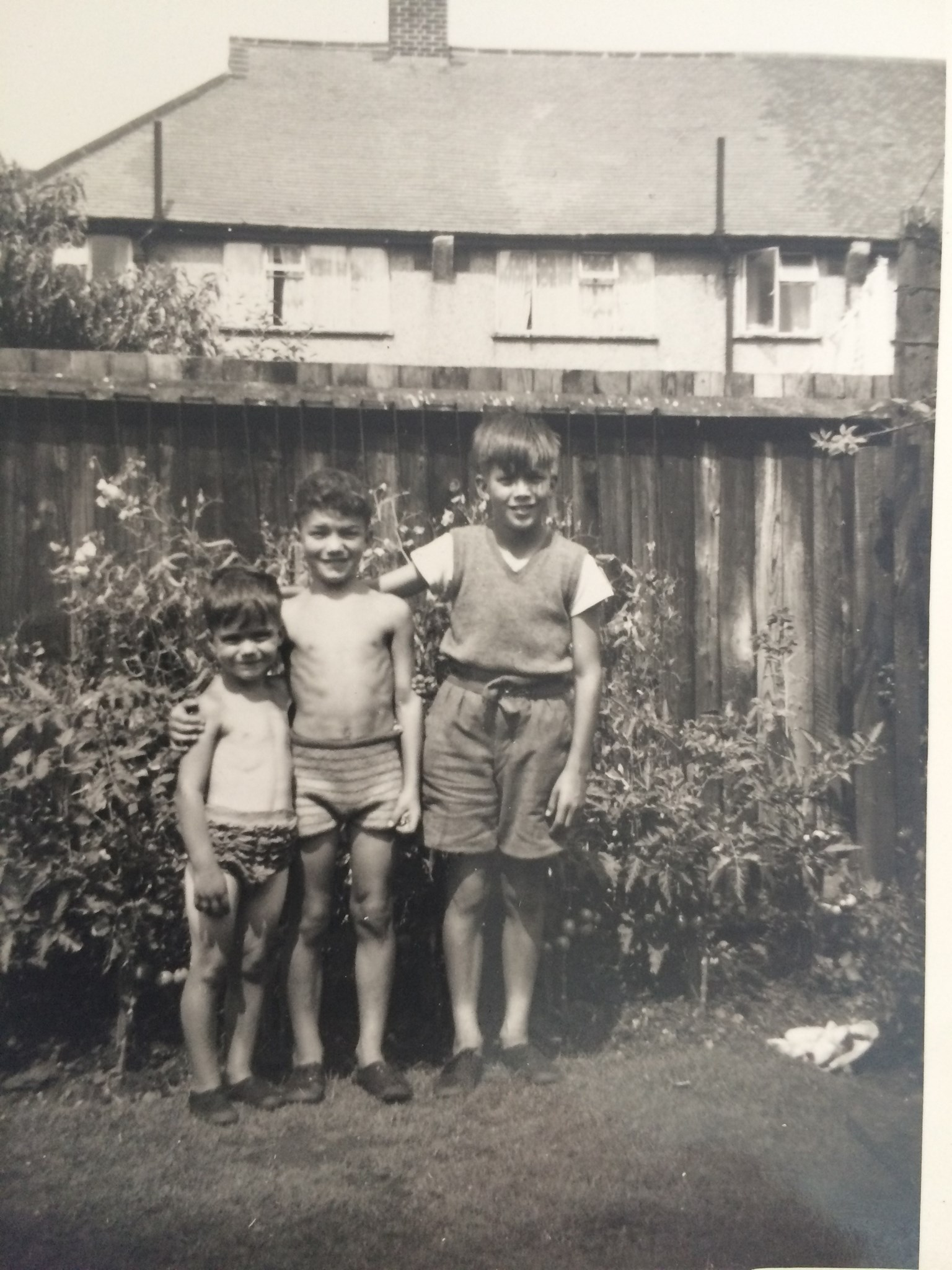 A young Ken with brothers Ray and David in their garden in whitefoot lane