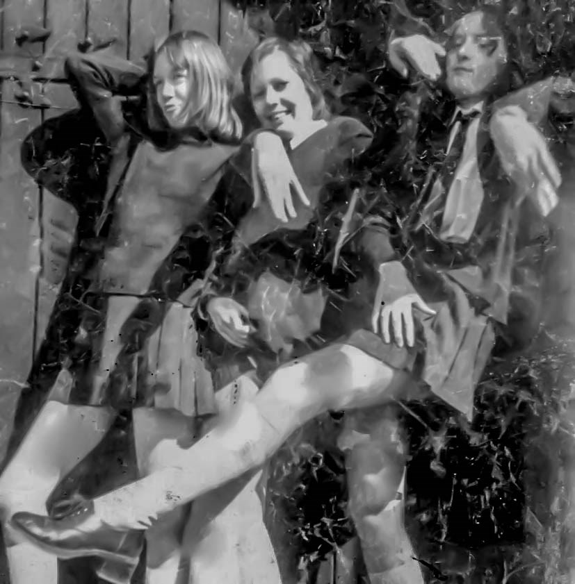 Shirley, Brianne and Ashley outside the school chapel 1971 at St Georges School
