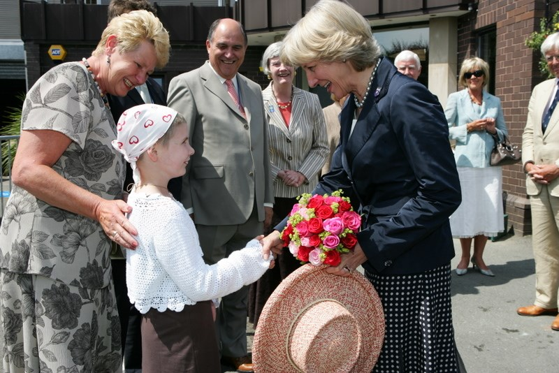 Presenting a posy to the Dutchess of Kent 2006