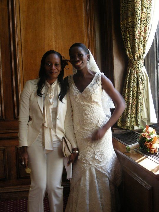 With Titi Fowora on her wedding day.