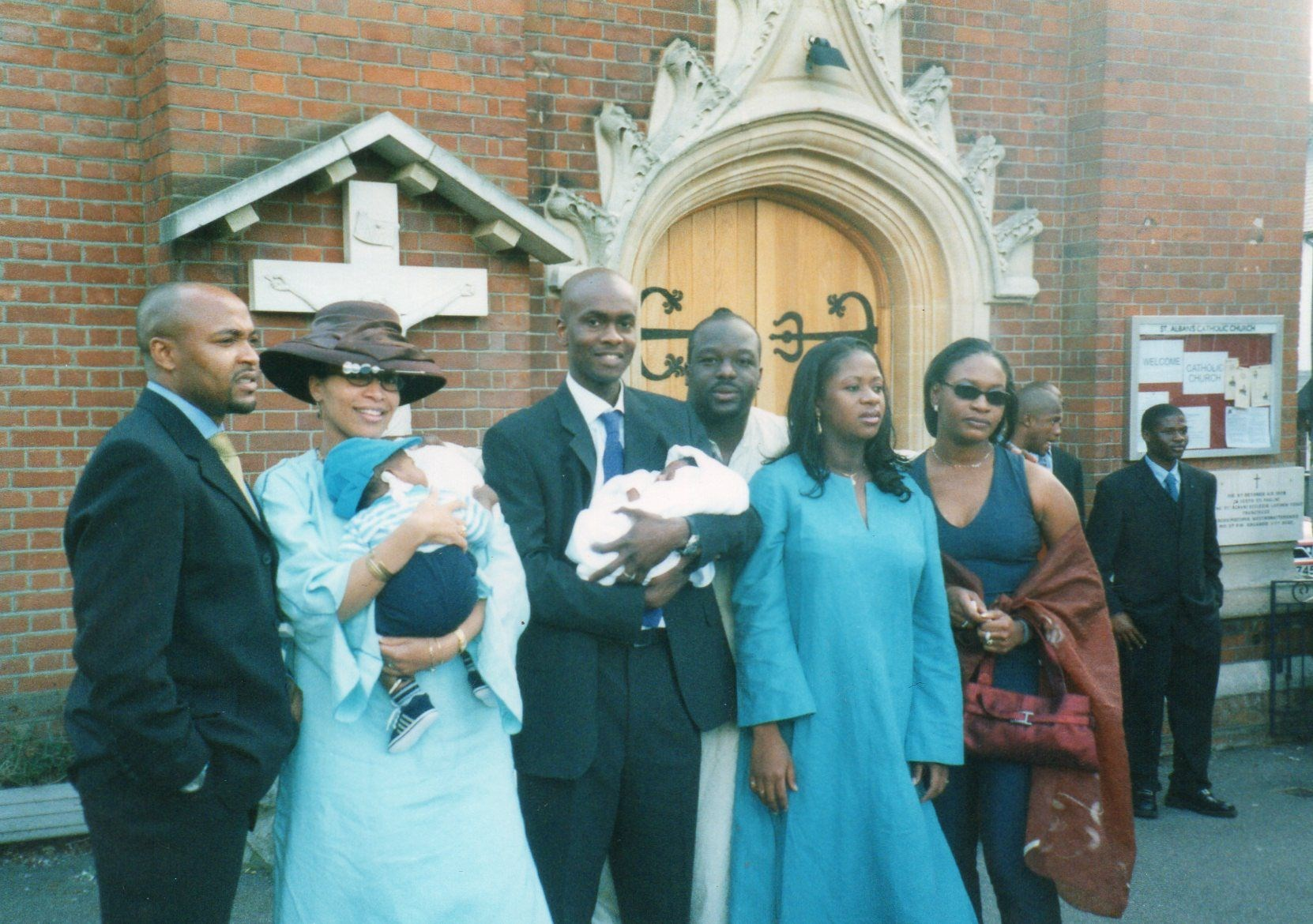 Ijeoma with Bernie and Eugene at her Godson's christening in 2001