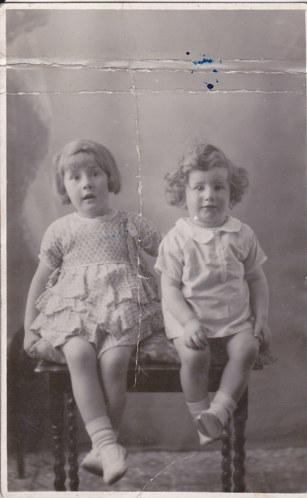 Eileen (aged 4 and half) and brother Ken (aged 9 months)