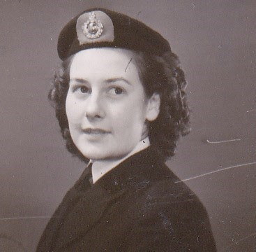 Eileen in January 1948 with her Royal Marine beret