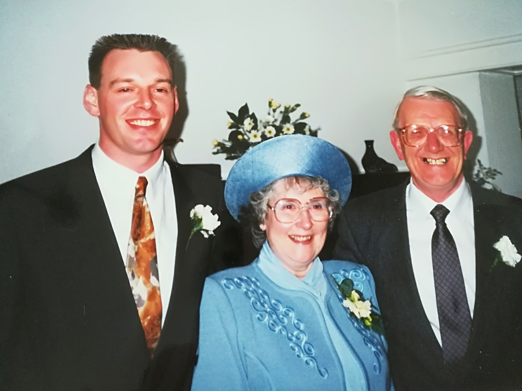 With Phil and Neil at Romie and Paul's wedding  April1991