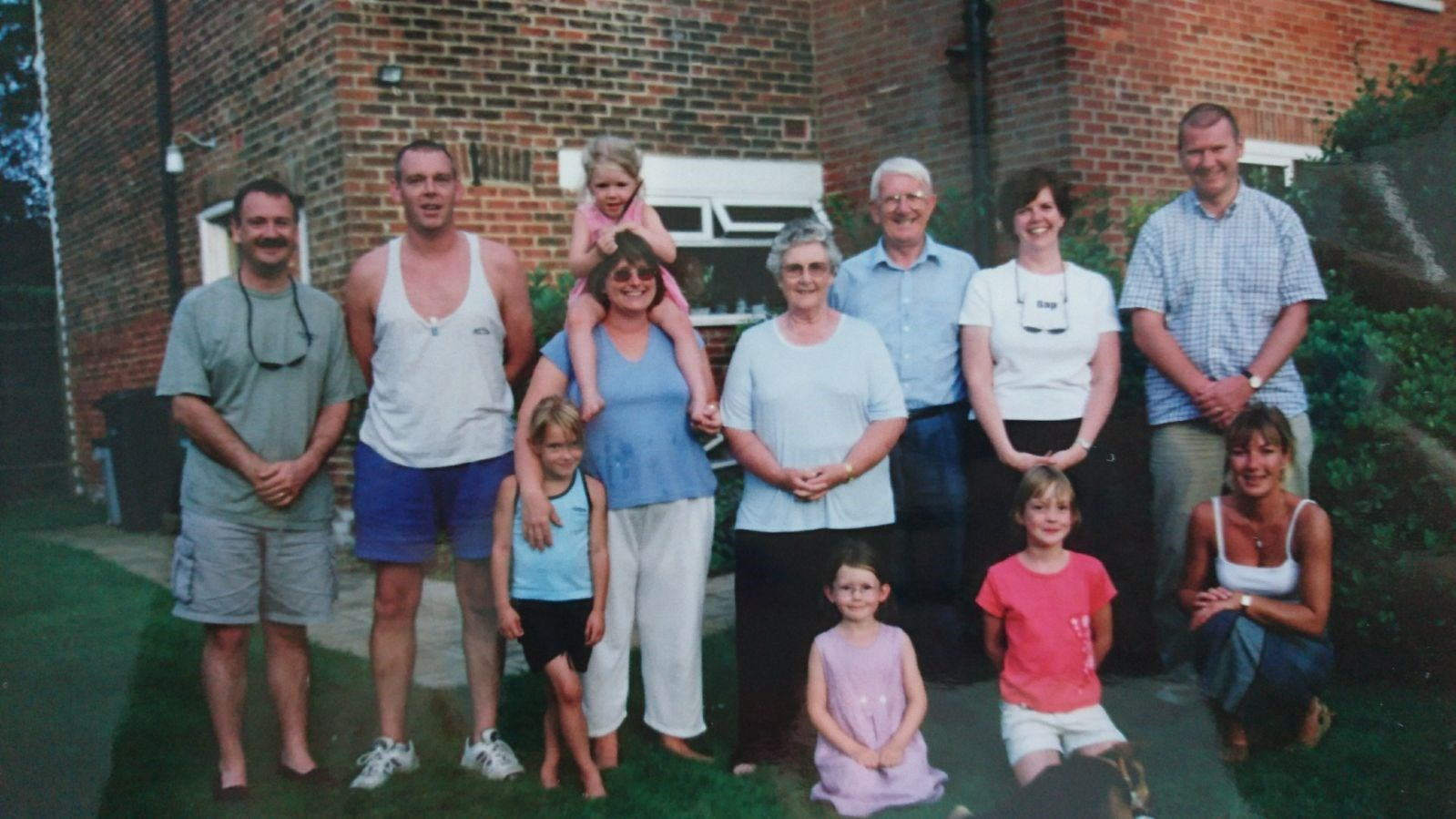 With the whole family in Romie and Paul's garden,  summer 2000