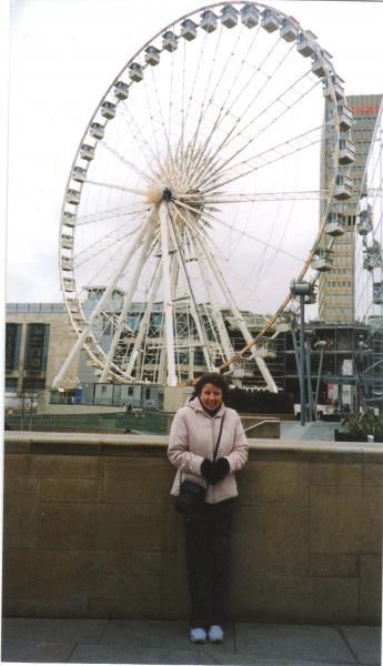Julie at the big wheel in Manchester