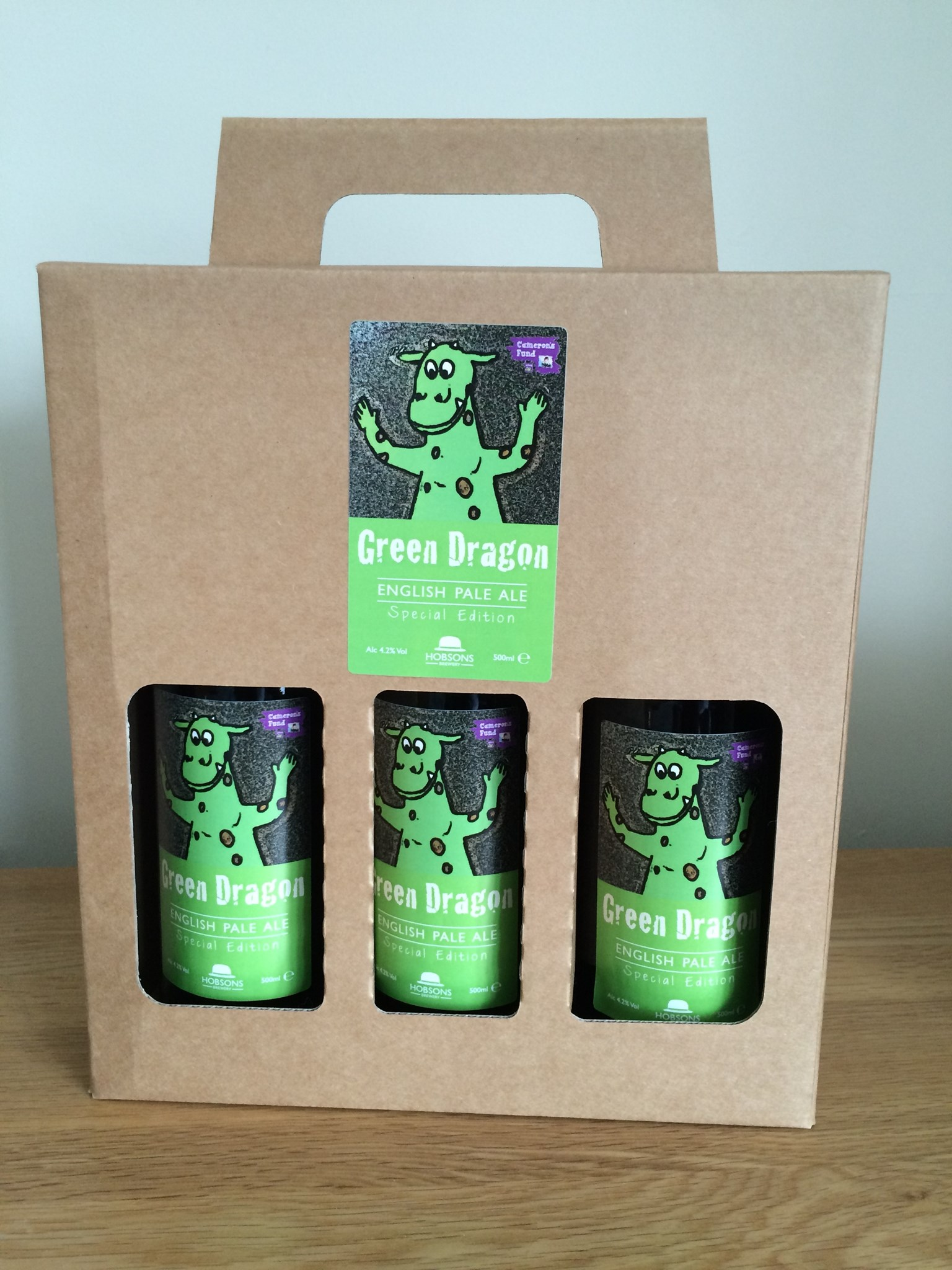 Green Dragon pale ale, by Hobson's Brewery to raise money in memory of Cameron