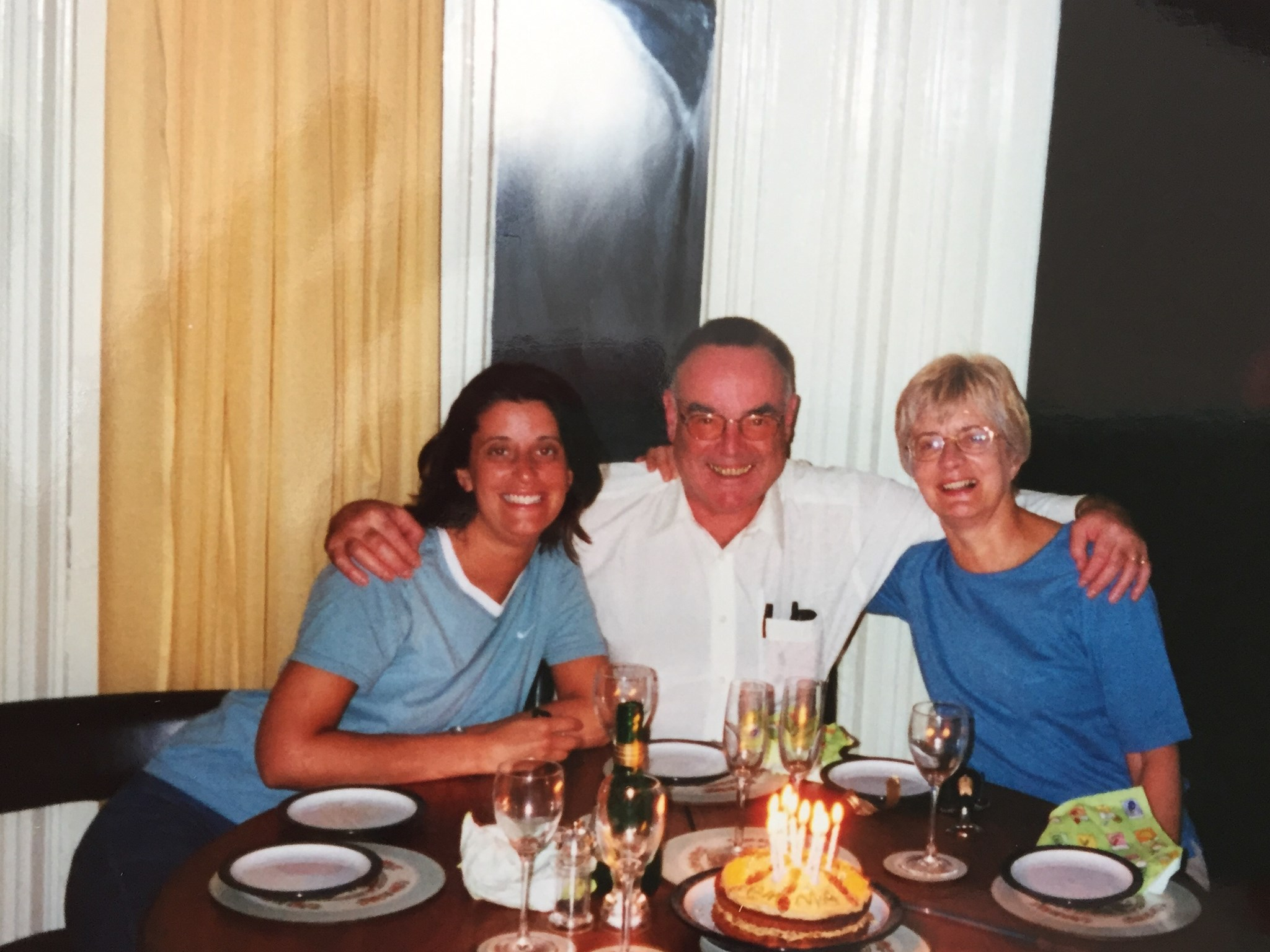 No idea whose birthday but there were candles, fizz  & smiles (Peter with Carol & Emma)
