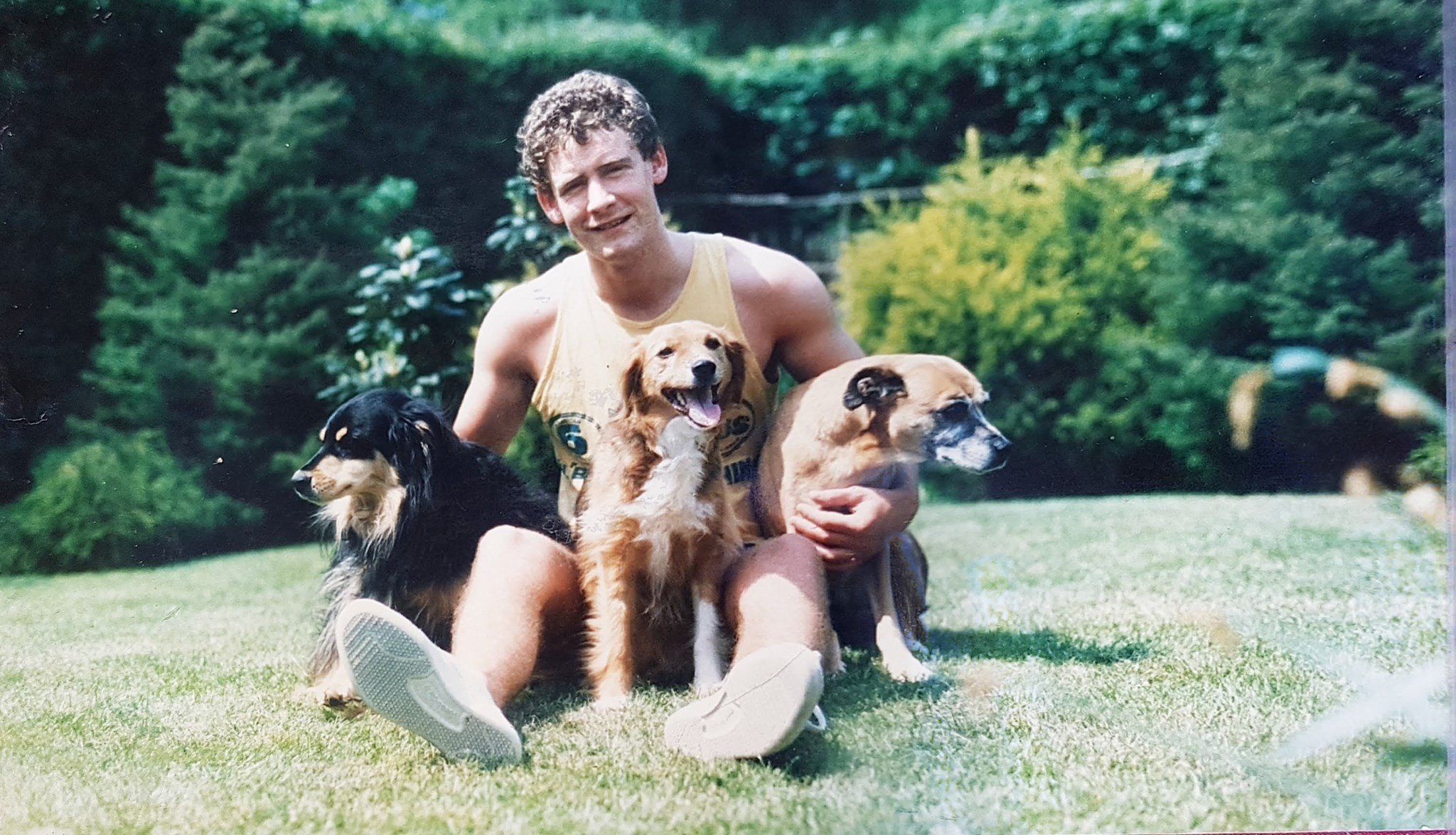 With his doggy family