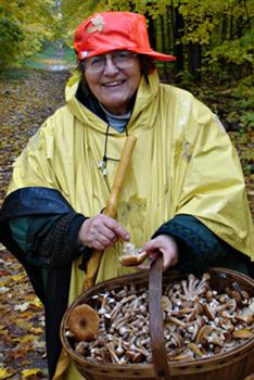 Dagi in the woods, picking wild mushrooms--one of the things she loved best. Photo by Eric Beldowski