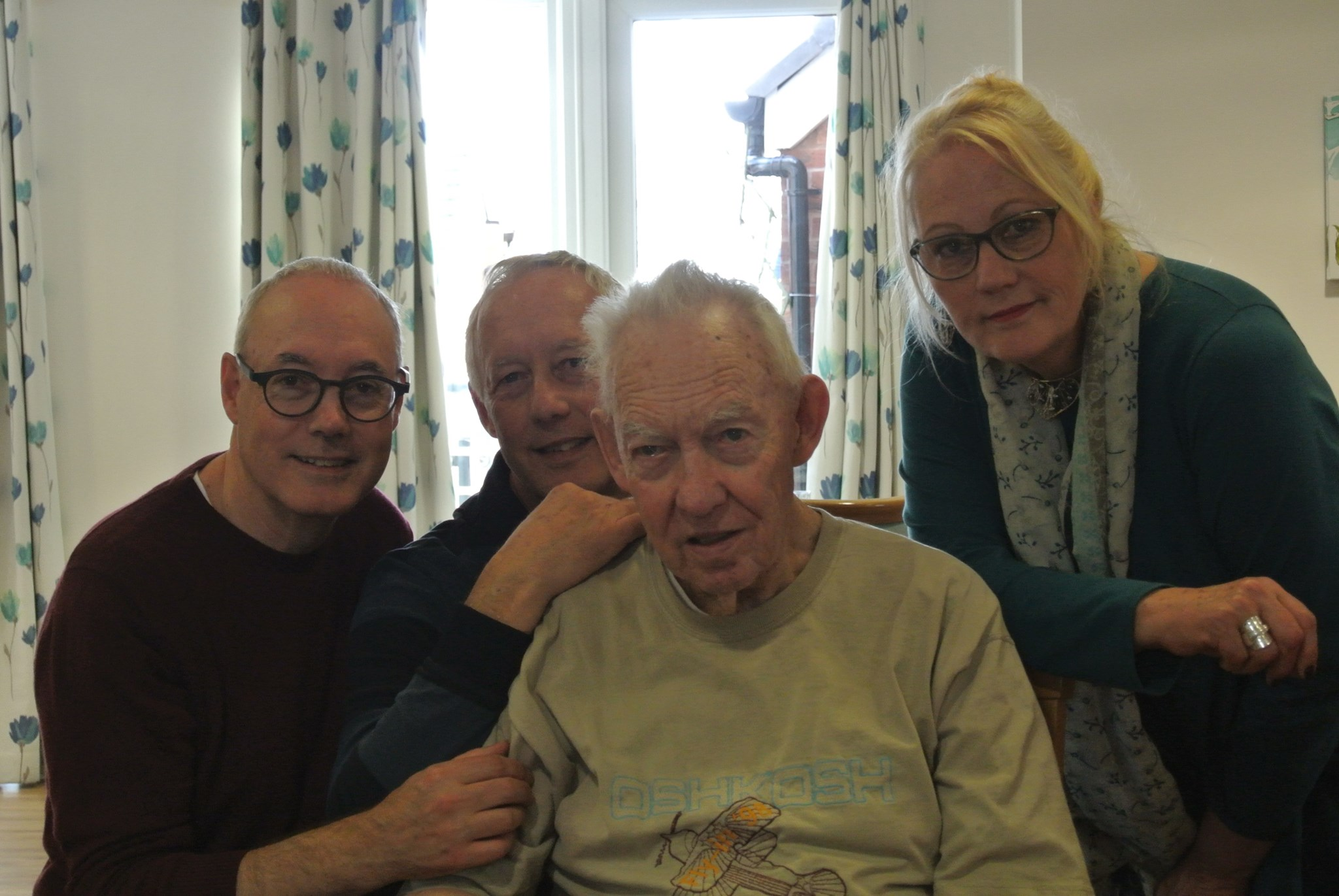 Ed with his three children, Mark, John and Liz, March 1018.  The last time they were all together.