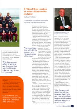 Article from thumb print, MND Association magazine, Summer 2009