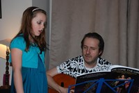 Practising with her dad
