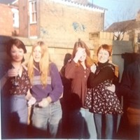 Sue, Jane, Therese and me at a 'bit of an afternoon do' 1975