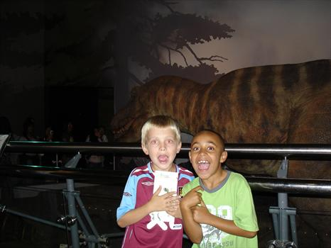 September 2007 - Liam and Ross tracking dinosaurs at the Natural History Museum, London