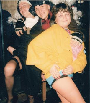 1986 New Year's Eve - Paul with school friends Dean Chase and Richard Connor in fancy dress