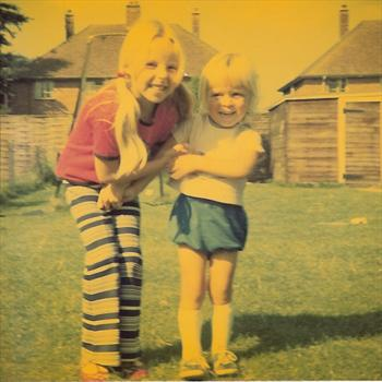 1975 - Paul and Nicola in the back garden at 42 Ravensdale