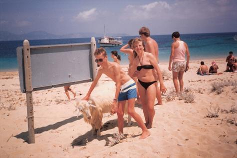 Paul & Tracey, with the goat that had 'pooed' on Paul's beach towel!