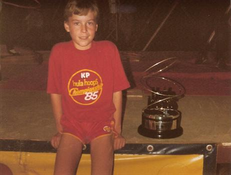 September 1985 - Paul, beside the trophy that he was hoping to win